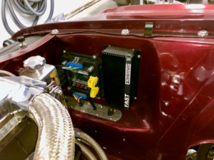 Front POWERCELL Mounted Under the Hood of a 1970 Mustang Wired with the Infinitybox System