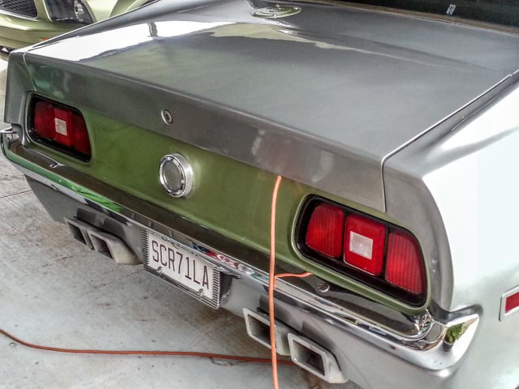 Rear picture of 1971 Mustang wired with the Infinitybox system.