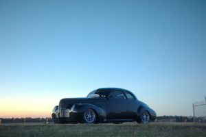 Sunset shot of a 1940 Buick wired with the Infinitybox system