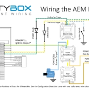 Picture of wiring diagram showing how to wire the AEM Infinity ECU with the Infinitybox 20-Circuit Kit
