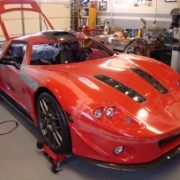 In-process shot of Factory Five GTM being wired with the Infinitybox system