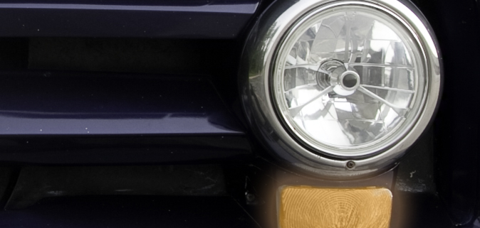 Picture of headlight and parking lights on a 1955 Ford F100 Panel Truck