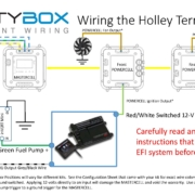 Picture of Infinitybox wiring diagram showing how to wire the Holley Terminator with the 20-Circuit Kit.