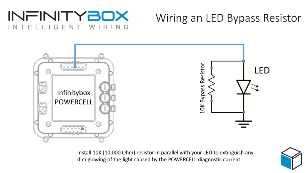 Picture of wiring diagram showing how to wire a bypass resistor with LED lights