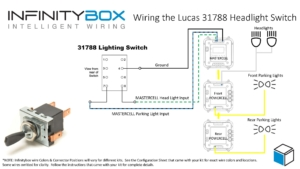 Picture of Infinitybox wiring diagram showing how to control headlights and parking lights from a Lucas Switch