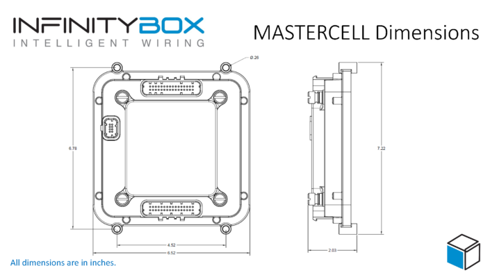 Outline dimensions for the Infinitybox MASTERCELL
