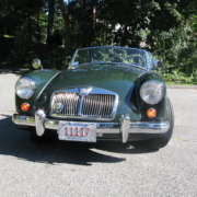 Front shot of a 1957 MGA wired with the Infinitybox system.