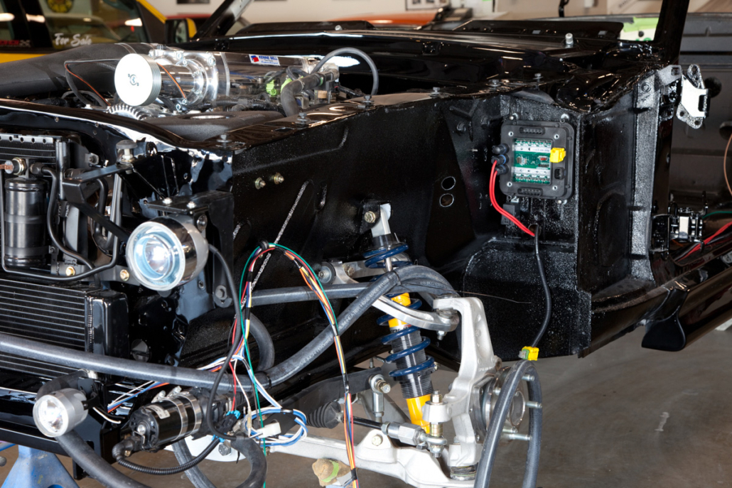 Location of front POWERCELL in 1967 Mustang wired with the Infinitybox system.