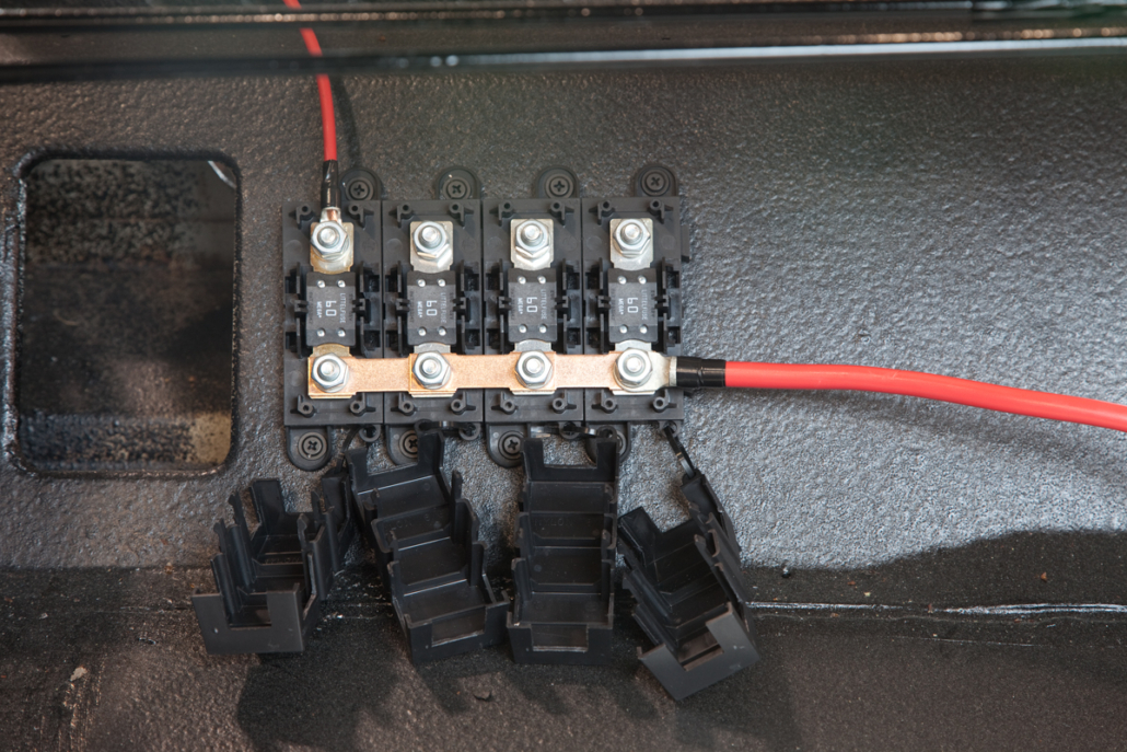 Primary battery cable connected to Mega Fuse block in 1967 Mustang wired with the Infinitybox system.