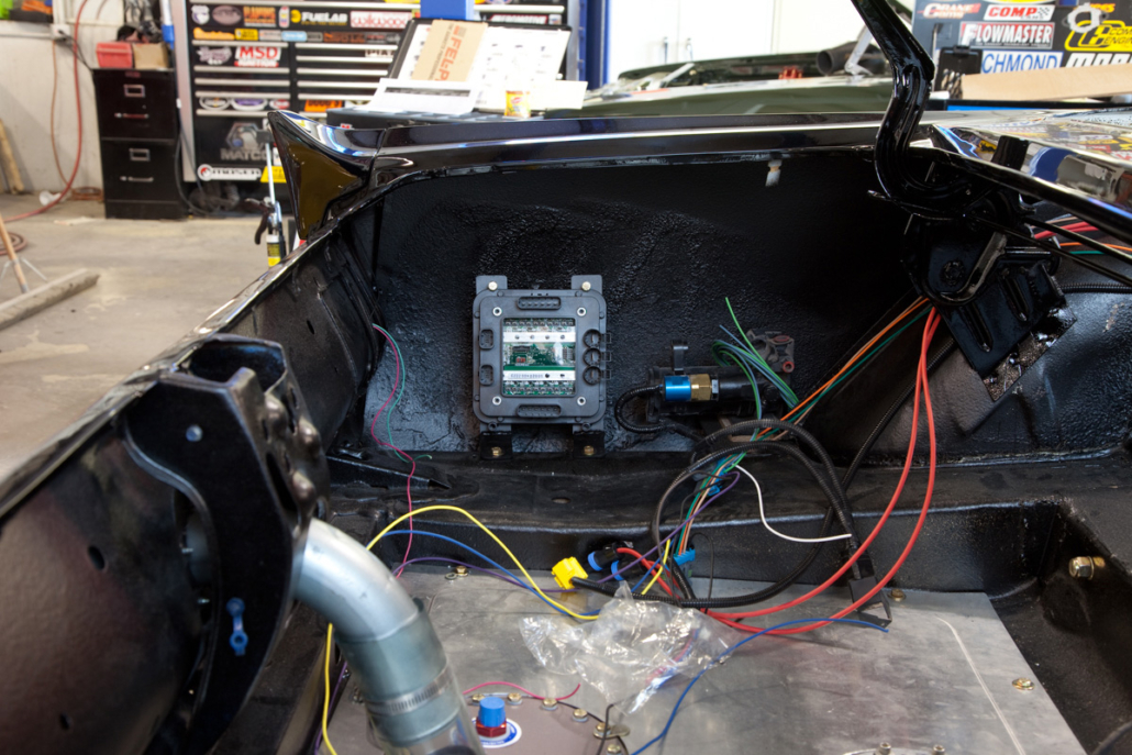 Rear POWERCELL in trunk of 1967 Mustang wired with the Infinitybox system.