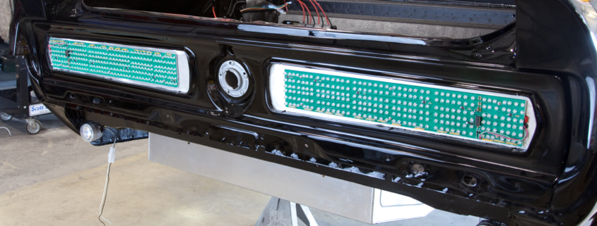 Rear LED tail lights on a 1967 Mustang Restomod wired with the Infinitybox system