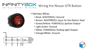 Picture of wiring diagram showing how to connect the Nissan GTR Start Stop button to the Infinitybox system to manage the One-Button Start