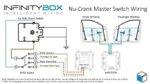Picture of wiring diagram showing how to wire the Nu-Relic Nu-Crank power window switches with the Infinitybox system