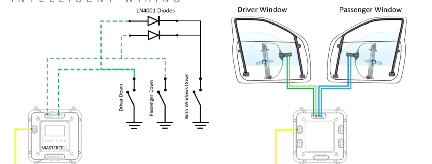 Picture of a wiring diagram showing how to wire two Infinitybox MASTERCELL inputs in parallel