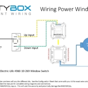 Picture of wiring diagram showing how to connect power window switches to Infinitybox MASTERCELL inputs