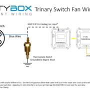 Picture of wiring diagram showing how to wire a trinary switch into the cooling fan circuit with the Infinitybox system