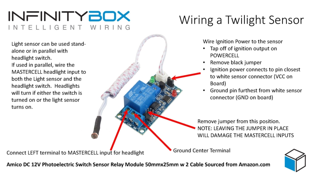 Image of a wiring diagram showing how to wire a simple photosensor relay to a MASTERCELL input