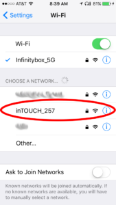 Step 2 of connecting the Infinitybox inTOUCH NET Module to your Apple Device