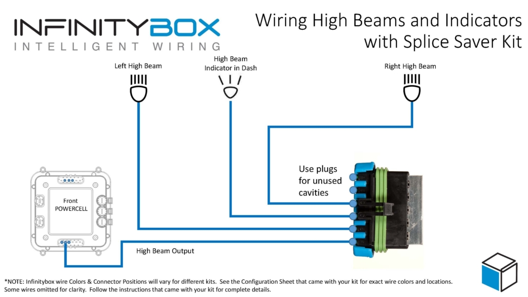 Wiring diagram showing how to wire high-beams and dash indicator with the Infinitybox Splice Saver Kit