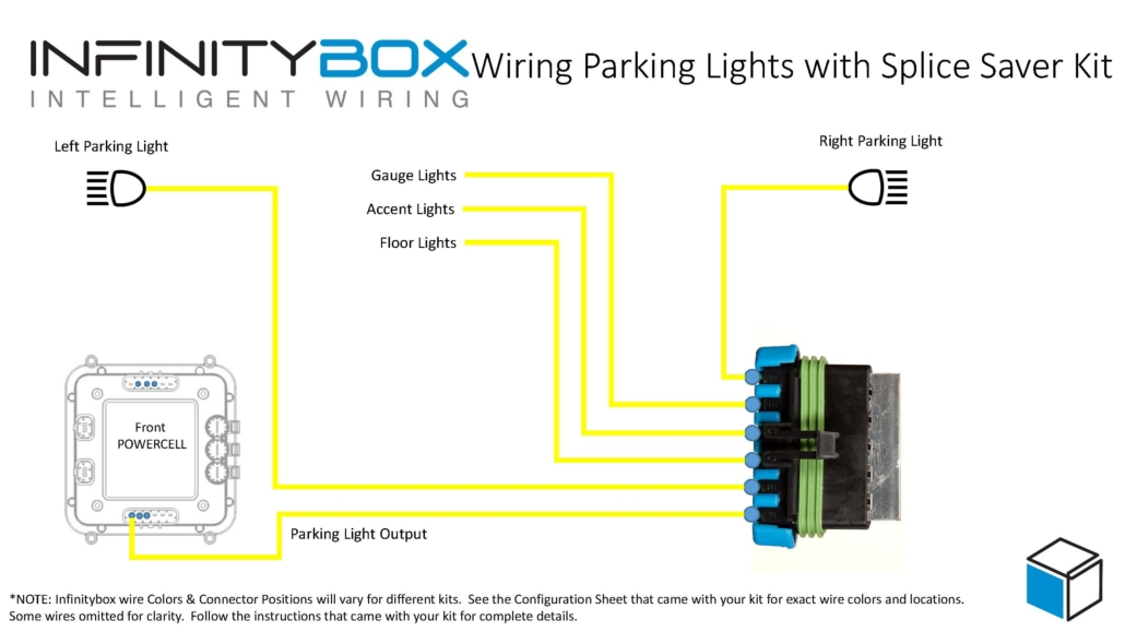 Wire diagram showing how to wire front parking lights and illumination with the Infinitybox Splice Saver Kit