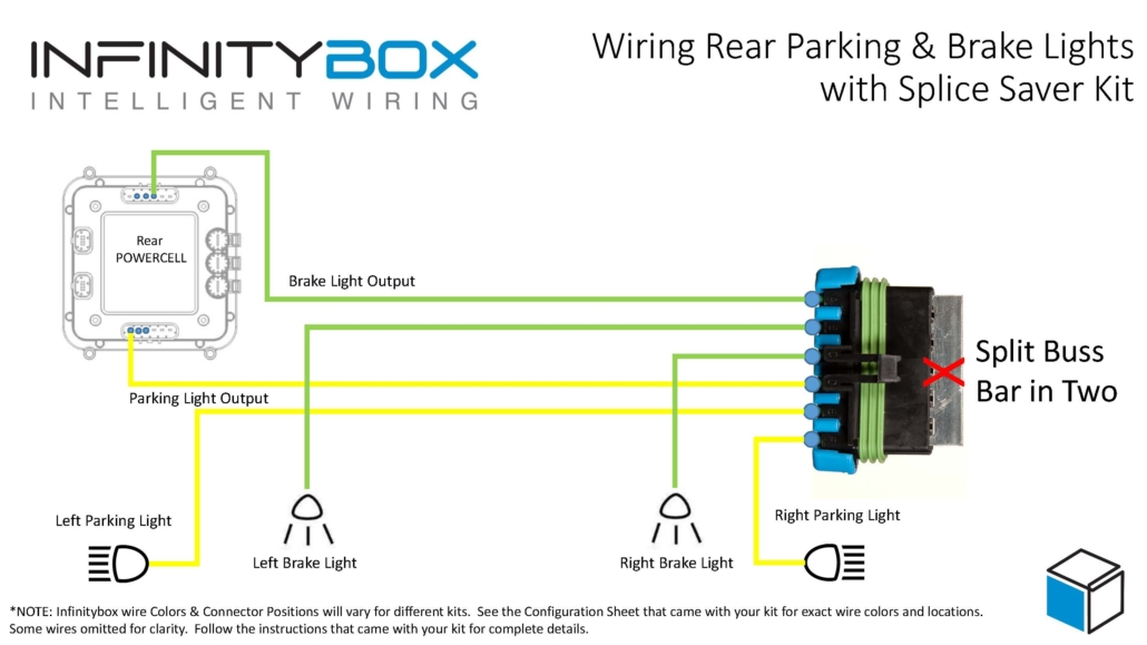 Wiring diagram showing how to wire parking lights and brake lights with an Infinitybox Splice Saver