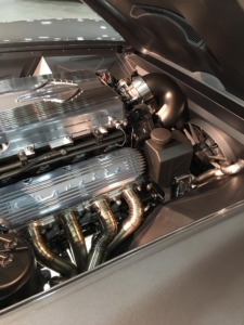 Engine compartment of the Split Ray Corvette wired with Infinitybox