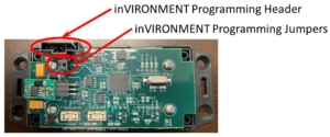 Picture of the Infinitybox inVIRONMENT Board Showing the Programming Header and Programming Jumpers
