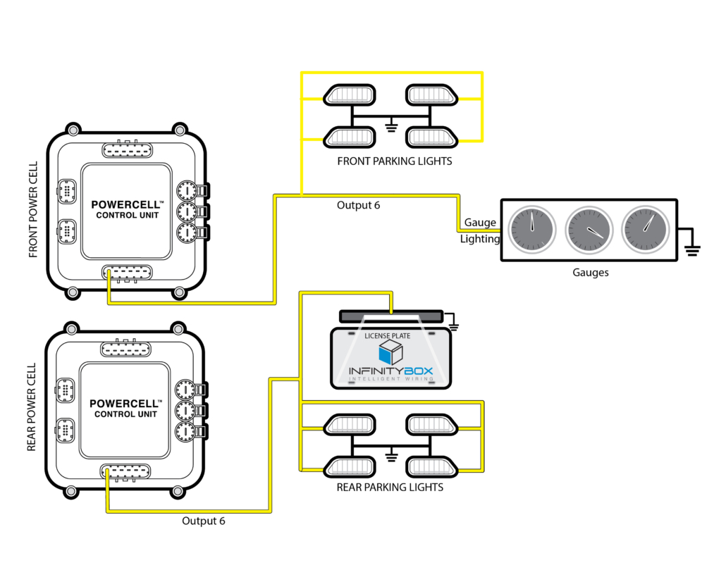 Diagram showing how to power your parking lights from the Infinitybox system.
