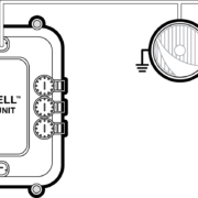 Picture of a simple schematic showing how to wire your headlights to the Infinitybox POWERCELL
