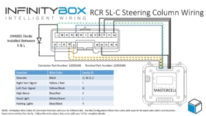Picture of wiring diagram showing how to connect Infinitybox MASTERCELL inputs to steering column connector for Race Car Replicas SL-C